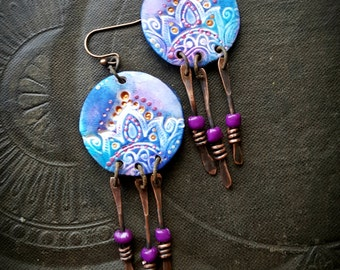 Polymer Clay, Gypsy, Hippy, Boho, Lotus, Dagger, Discs, Flower, Artisan Made, Organic, Tribal, Beaded Earrings