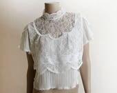 Vintage 1970s Blouse - White Gauze and Lace Edwardian Style Sheer Bib Neckline Top - Boho Bohemian High Neck Fancy Blouse - Small