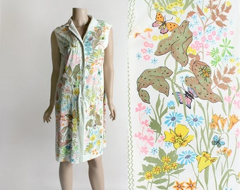 Vintage 1960s Novelty Print Tunic Dress - Butterfly, Mushroom, Insect Bug and Floral Print - Garden Sleeveless Shift Dress - Large Medium