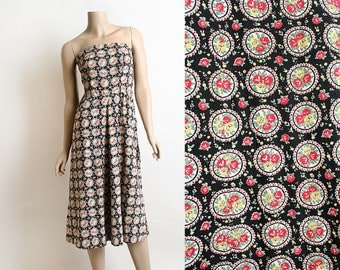 Vintage 1950s Dress - Floral Rose Print Strapless Summer Dress - Cotton Day Dress - Rockabilly Pin-Up Sundress - Small