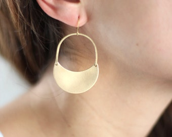 Brass Crescent Moon Arch Earrings - Brass,  Gold Filled or Sterling Silver