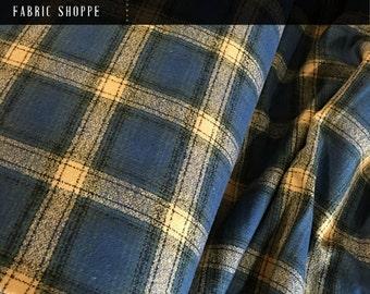 Buffalo Plaid, Mammoth Plaid Flannel, Blue Plaid, Blue Flannel, Plaid Scarf fabric, Robert Kaufman, Mammoth Flannel in Pacific 460