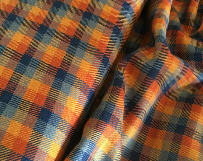 Hipster Plaid fabric, Grizzly Plaid fabric, Plaid by the yard, Lumberjack, Orange Plaid, Plaid in Sunset 206, Choose the cut