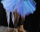 Ready to ship tutu tulle adult skirt blue stripes bustle circus costume dance halloween run race gogo carrnival Small- Sisters of the M