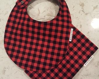 Baby Boy Bib and Burp Cloth Gift Set - Designer Red and Black Flannel Plaid, Bib, Contoured Burp Cloth, Buffalo Plaid, trendy, Dads gift