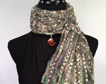 Paper Money Variegated Green Black Ivory Knit Double Strand Ribbon Scarf with Gold Accents and Fringe