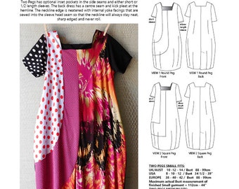 The TWO PEGS Dress, womens PDF pattern