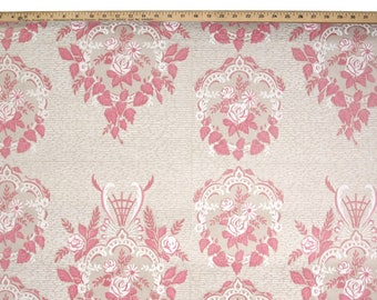 1940s Vintage Wallpaper by the Yard - Vintage Kraft Paper Extra Wide Floral Pink Damask