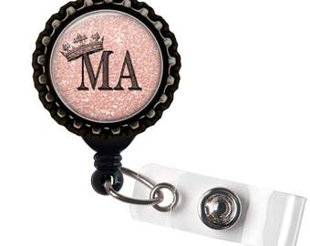 MA ROYALTY- Pink and Black Retractable Badge Reel ID Holder