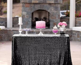 Black Sequin Tablecloth For Dessert Table Cake Table Wedding Event Decor  New Years