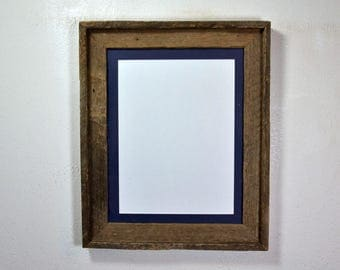 9x12 blue mat in 11x14 upcycled wood frame complete Made in the USA