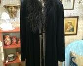 Vintage 90's ostrich feather black gothic velvet jacket coat unisex L XL