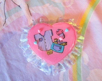 Heart brooch, fairy kei rosette 80's party lolita accessories slumber party pin Miss Alphabet