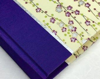Keepsake Wedding Album - Custom Photo album, Baby Memory Book, Bridal Memory Book, Photo Booth Album in Purple Silver Cherry Branch