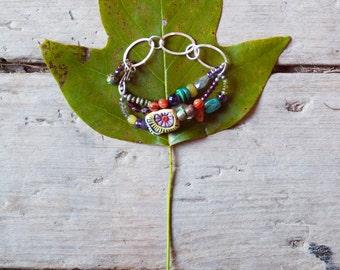 Boho Bracelet Chunky Bracelet with Handmade Tile and Semiprecious Stones Statement Bracelet Boho Gift for Her Gift for Women Gift for Friend