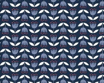 Monaluna Simple Life Blue Tulip 100% Organic Cotton Fabric
