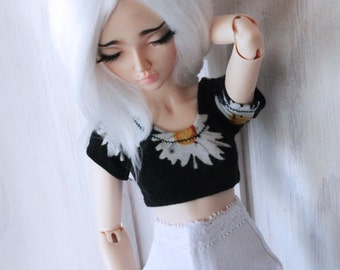 Doll dollfie MSD Minifee BJD clothes Daisy crop top MonstroDesigns sunflower t-shirt Ready to Ship