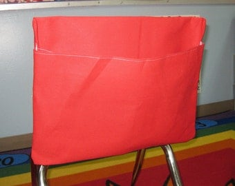 1 RED Chair Pockets Seat Desk Sack Colored Duck Cloth Chair Pocket Factory Chair Pockets are Washable YOU CHOOSE the SiZE