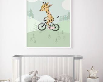 Giraffe riding a bicycle, Boys room decor, boys wall decor, baby shower boy, art for boys room, kids room decor, boy nursery decor