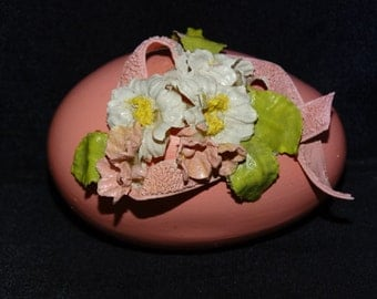 Pink Ceramic Easter Egg, Ribbons & Roses, Easter Basket Decoration, Table Decoration, Chicken Egg, Green ware, Rose pedals, Easter Holiday