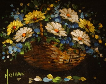 Miniature Oil Painting , Vivian Hollan Swain, Spring Time Flowers, Wicker Basket, Floral Arrangement, Poseys, Daisies, Basket of Flowers