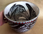 Jumbo Raven Punch & Salad Bowl Ceramic Hand Painted Original with Red and Turquoise Triangle Band for Wedding Anniversary Birthday