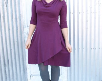 Drape Neck Dress with 3/4 Sleeves Custom Made from Hemp & Organic Cottton