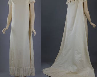 Vintage 60s Priscilla of Boston Ivory beaded Wedding dress gown cape train
