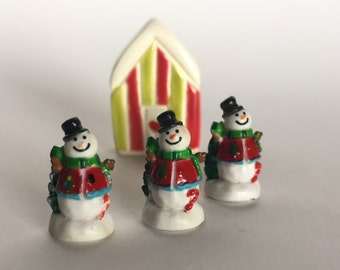 Tiny SNOWMAN TOPHAT Christmas Winter Terrarium Prop Party Favor Art Embellishment