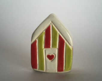 Christmas Ceramic Miniature House  red green ooak