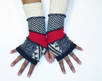 Fingerless Gloves,Armwarmers,Red,Black and White(Black/Patched Heather Black,Print/Red/Blk,White Herringbone/Off White)by Brenda Abdullah