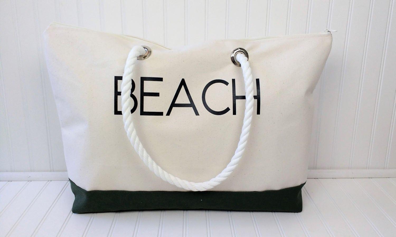 extra large beach bag zippered beach bag canvas beach bag