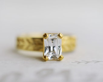 Emerald Cut Moissanite Engagement Ring | Sustainable Solitaire | 7x5mm Forever Brilliant Moissanite 14k, 18k, Rose, Yellow, White Gold Ring