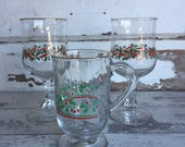 Vintage Holly Berry Glasses - Mug - Arby's Collectible Goblets and Irish Coffee