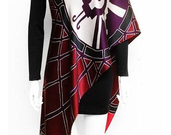 Handpainted silk scarf, Mandala scarf, burgundy scarf, Hunab ku scarf, Hand made scarves, Maya scarf, Unique handmade scarf, Pattern scarf