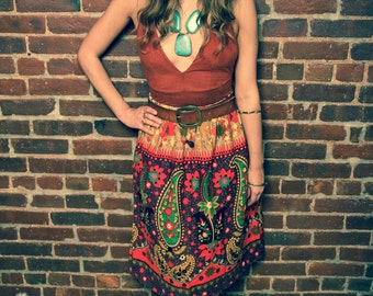 60's Vintage Floral Hippie Skirt