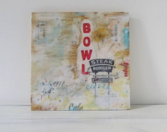 Steak Burger Bowl - typography, art, design, signage, vintage, americana, resin, screenprint, food wall art decor, bowling