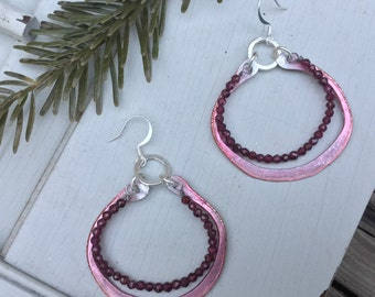 Raspberry Boho Hoop Earrings | Bohemian Sterling Silver & Swarovski Glass Beads