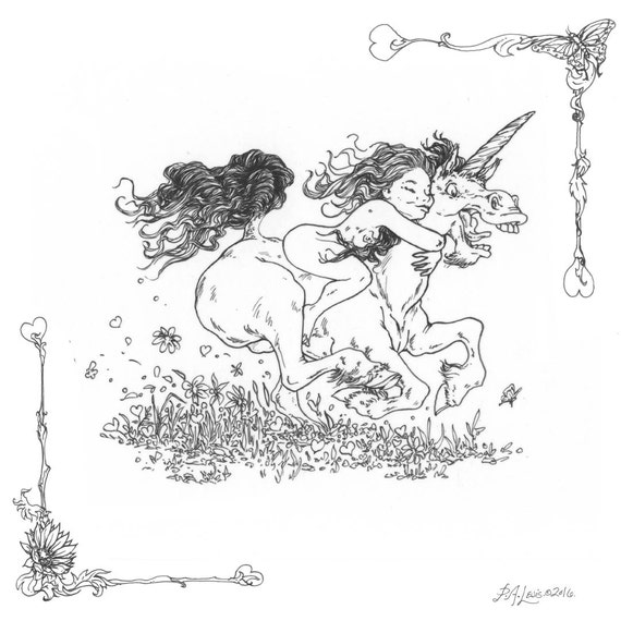 Adult Coloring Page Gallop Girl and Horse