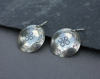 Ethnic earrings - dangle earrings - tribal - sterling silver hooks - stamped design - southwestern