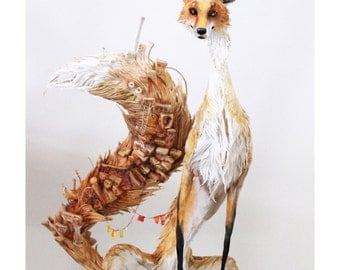 From Midden to Domesticated (village fox) - Original Giclee Limited Edition Print - 8.5x11""