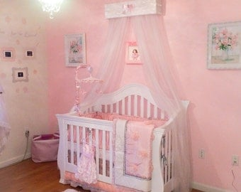 Princess Bed Canopy girl CrOwN Pelmet Upholstered Awning White Light Pink bedroom nursery crib FrEe ShiPPinG Custom So Zoey Boutique SALE