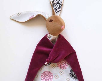 Baby Bunny Blanket , All Natural Materials, Plum