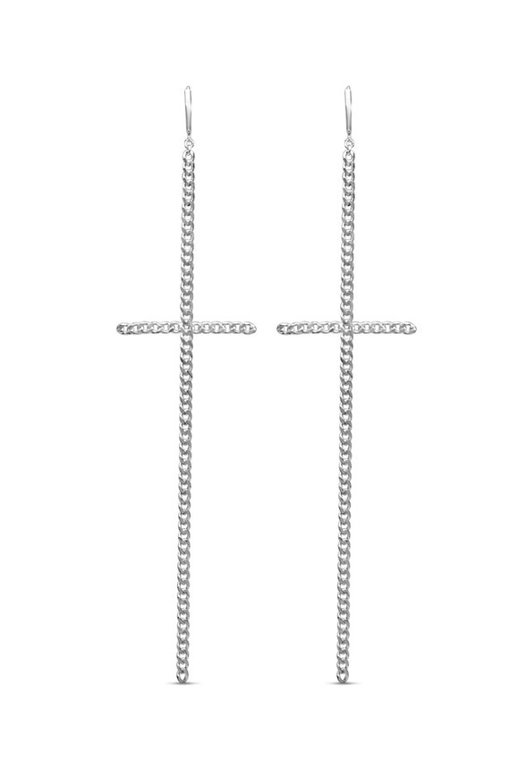 Long Cross Earrings | Chain Cross Earrings | Silver Cross Earrings | Religious Earrings | Madonna Cross Earrings