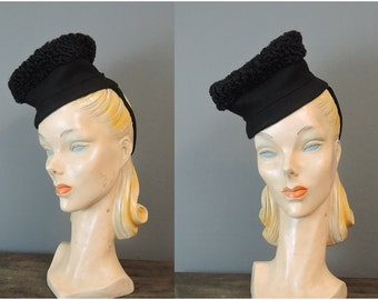 Vintage 1940s Hat Persian Lamb & Felt Tilt Topper Doll Evening Winter, by Stanley