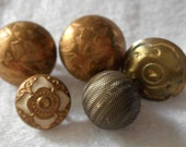 Lot of 5 ANTIQUE Tiny Metal BUTTONS