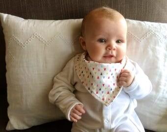 Bandana Bib | Baby Girl Drool Bib | Geometric Triangles | Minimal Modern Baby Accessories