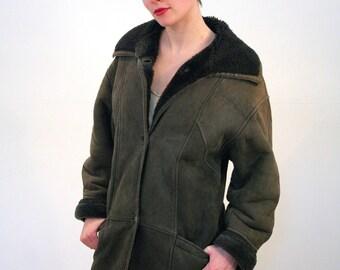 Nevada, 70s Shearling Coat, Suede Coat, Heavy Sheepskin Coat, Dark Brown Suede Winter Coat, Mod Shearling Coat, S to M