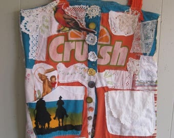 texas cowgirl / orange crush DRESS - Vintage Embroidery Crochet Linens - Wearable Folk Art -  Fabric  Collage - Patchwork Couture  - mybonny