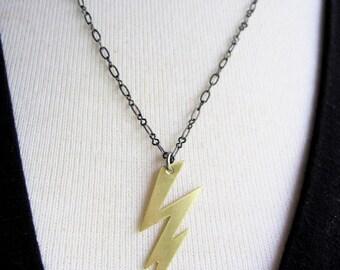 Brass Lightning Bolt Necklace, Gold, Modern, Thunder Lightening, Pendant necklace, Black Chain, Everyday Necklace